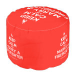 [Campfire] keep calm and marry a firefighter  Round Pouf