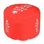 [Cutlery and plate] keep calm and eat kfc  Round Pouf