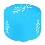 [Crown] keep calm and pray on  Round Pouf