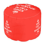 [Crown] keep calm and sponsor me  Round Pouf