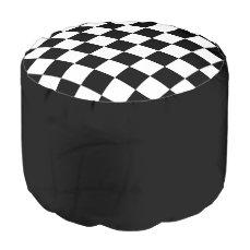 "Round pouf ""Checkerboard"" - Black"