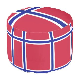 Round Pouf Flag Norway