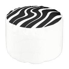 "Round pouf ""Kenya"" - Black and white"