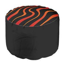 """Round pouf """"Kenya"""" - Red/orange and black"""