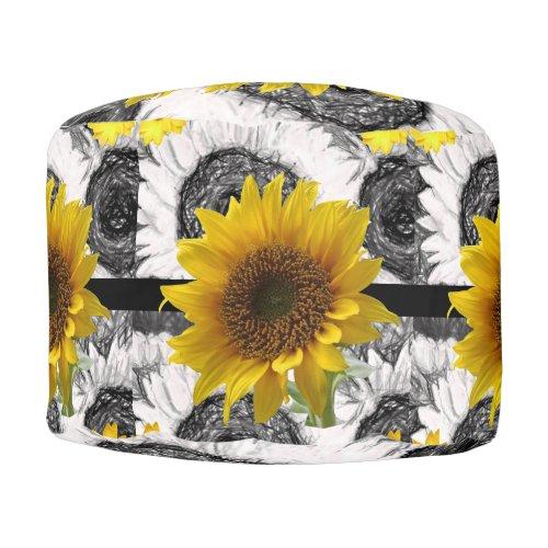 Round Pouf Sunflower