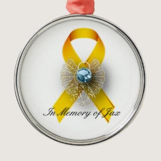 Round Premium Boy Angel Childhood Cancer Awareness Metal Ornament