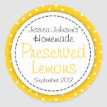 Round Preserved Lemons jam jar food label Round Sticker