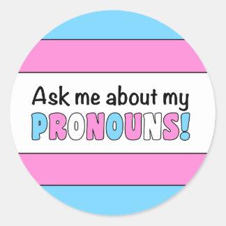Round Pronouns Sticker (Trans Pride)