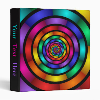 Round Psychedelic Colorful Modern Fractal Art Text 3 Ring Binder