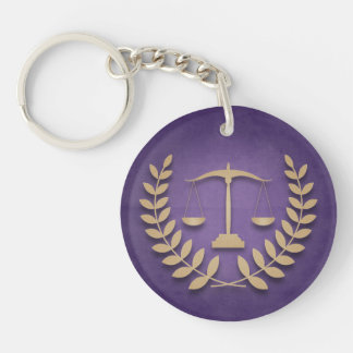Round Purple & Gold Law Scales Personalized Keychain