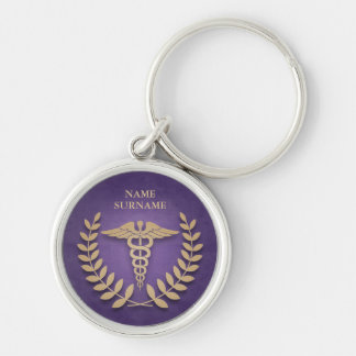 Round Purple & Gold Medical Caduceus Personalized Keychain