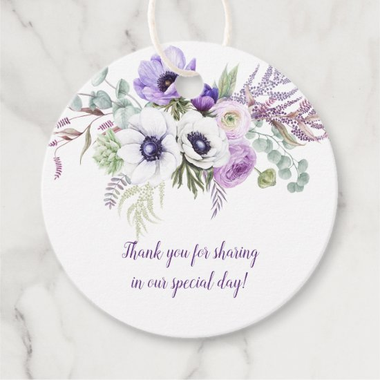Round Purple Lavender White Floral Wedding | Favor Tags