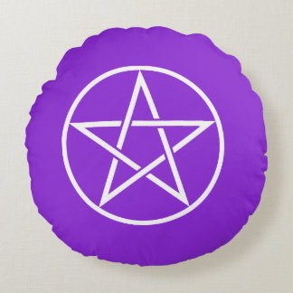 Round Purple Pentacle Pagan Pillow
