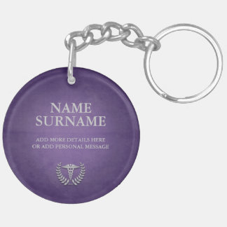 Round Purple & Silver Medical Caduceus Custom Keychain