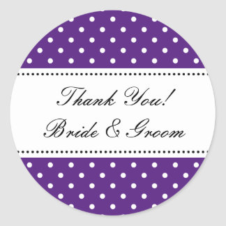 Round purple Thank you stickers for wedding favors