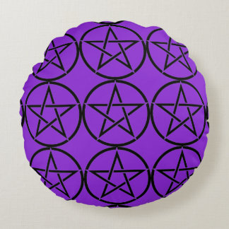 Round Purple with Black Pentacles Pagan Pillow