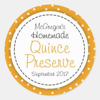 Round Quince preserve or jam jar food label