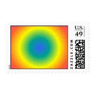 round rainbow postage