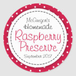 Round Raspberry Preserve Or Jam Jar Food Label at Zazzle