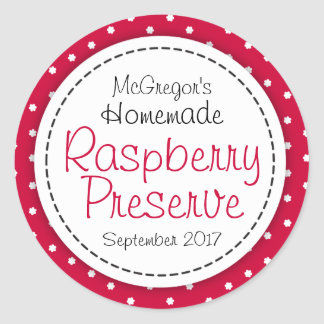 Round raspberry preserve or jam jar food label