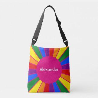 Round Rays Frame Rainbow + your backgr. & ideas Crossbody Bag