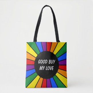 Round Rays Frame Rainbow + your backgr. & ideas Tote Bag