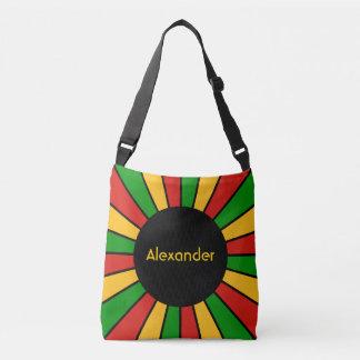 Round Rays Frame Rastafari + your backgr. & ideas Crossbody Bag