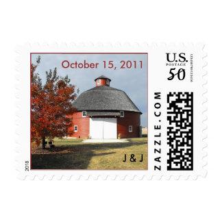 round red barn - fall wedding stamp custom