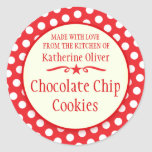 Round Red Cookie Exchange Baking Gift Stickers at Zazzle