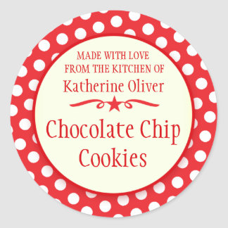 Round red cookie exchange baking gift stickers