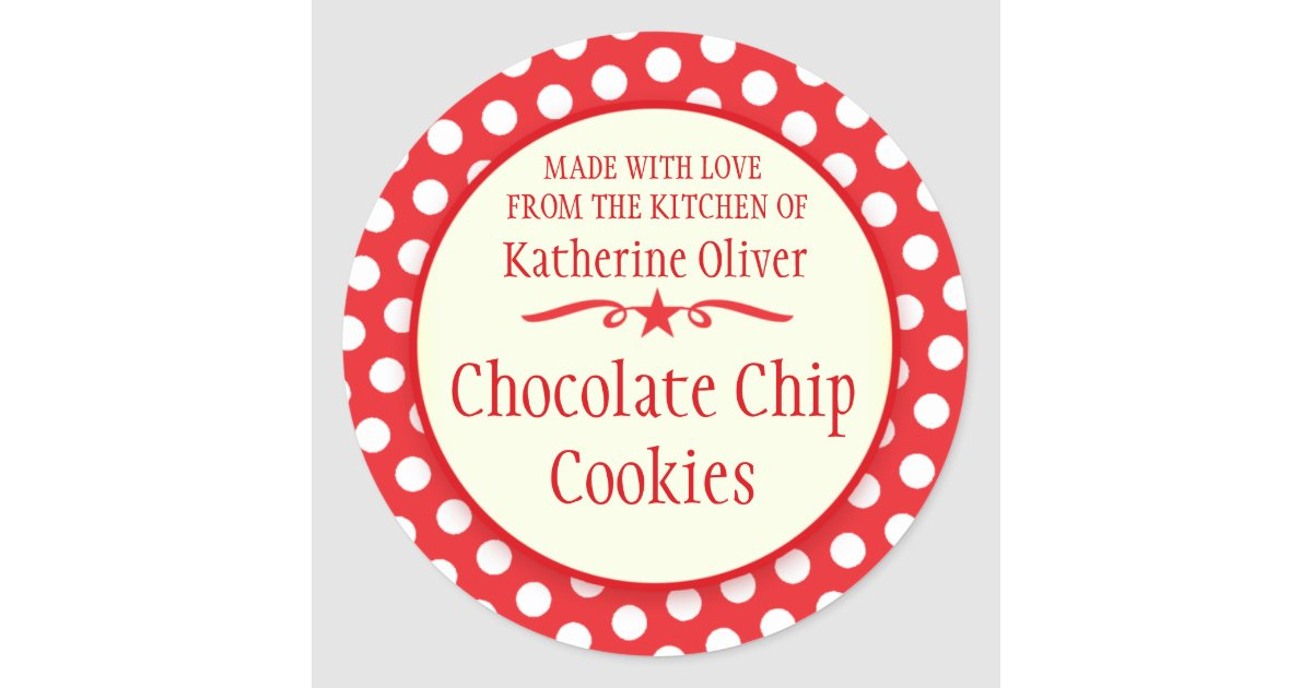 Round red cookie exchange baking gift stickers zazzle com