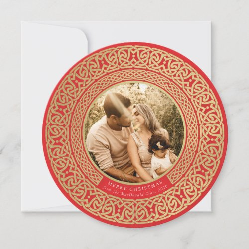Round Red+Faux Gold Celtic Holiday Photo Card