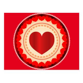 Round Red Heart Postcard