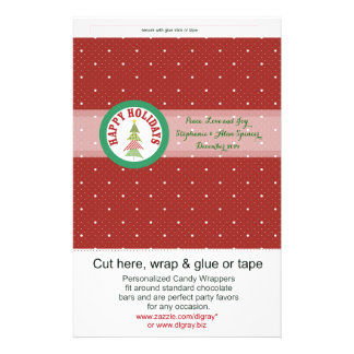 Round Red Holiday Medallion Candy Wrappers Personalized Flyer