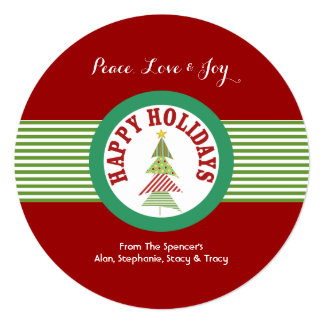 Round Red Holiday Medallion Christmas Cards