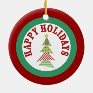 Round Red Holiday Medallion Ornament