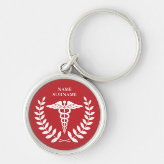 Round Red Medical Caduceus Personalized Silver-Colored Round Keychain