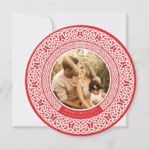 Round Red + Off White Celtic Holiday Photo Card