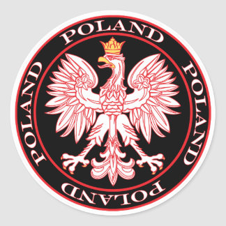Round Red Polish Eagle Classic Round Sticker