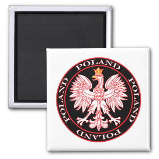 Round Red Polish Eagle Magnet