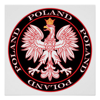 Round Red Polish Eagle Poster