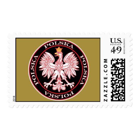 Round Red Polska Eagle Custom Postage