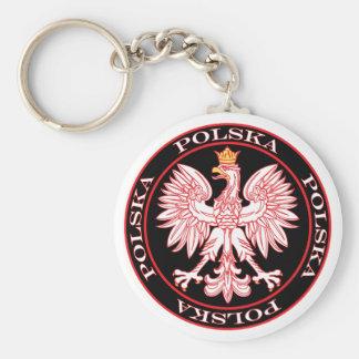 Round Red Polska Eagle Keychain