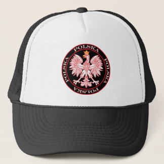 Round Red Polska Eagle Trucker Hat