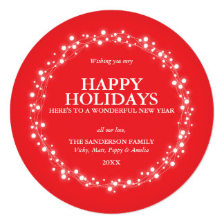 Round Red Sparkling Christmas Lights Holiday Card