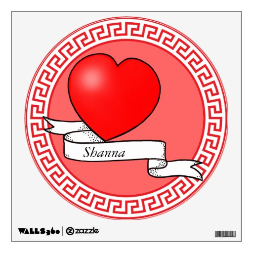 Round Red Wall Decal Tattoo Heart
