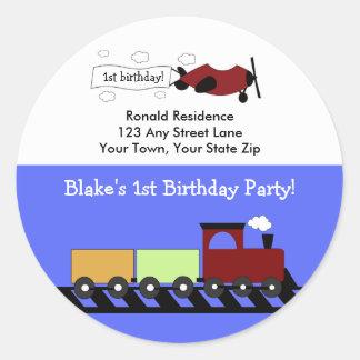 Round Return Address Label Planes & Trains