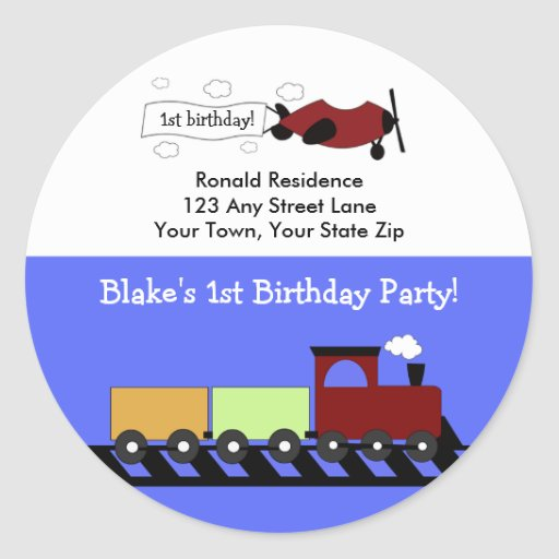 Round Return Address Label Planes & Trains