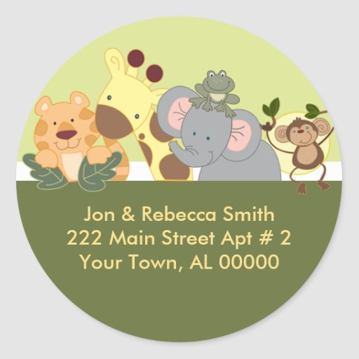 Round Return Address Labels - Jungle Safari Green