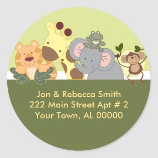 Round Return Address Labels - Jungle Safari Green sticker